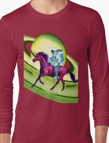 Astronaut Rides a Space Horse on the Rings of Saturn Long Sleeve T-Shirt