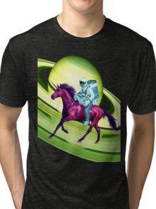 Astronaut Rides a Space Horse on the Rings of Saturn Tri-blend T-Shirt