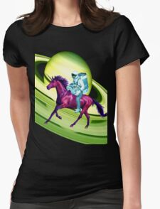 Astronaut Rides a Space Horse on the Rings of Saturn Womens Fitted T-Shirt