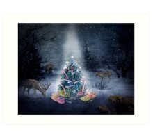 Christmas Day in the forest Art Print
