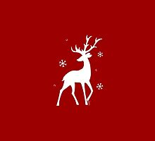 Stylized Reindeer Silhouette (White on red) by Laura Herrington
