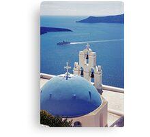 The Blue Dome, Santorini Canvas Print