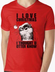 Christmas Otter Mens V-Neck T-Shirt