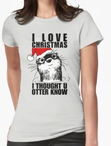 Christmas Otter Womens Fitted T-Shirt