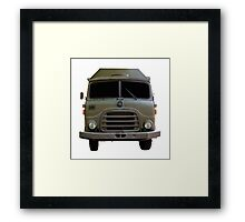 Isolated Army Truck From Front Framed Print
