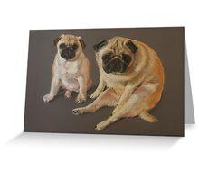 Pastel Pugs Greeting Card
