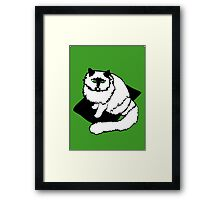 White Cat on Black Mat Framed Print