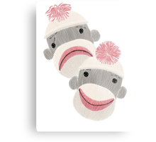 Tragedy and Comedy Sock Monkeys Metal Print