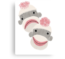 Tragedy and Comedy Sock Monkeys Canvas Print