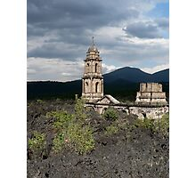 Church buried in lava, Uruapan, Mexico. Photographic Print