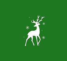 Stylized Reindeer Silhouette (White on green) by Laura Herrington