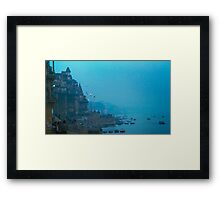 Hazy Blue Dusk - Varanasi Ghats, India Framed Print