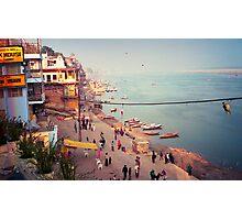 Life on the Ghats of Varanasi - Varanasi, India Photographic Print