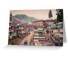 The Snaking Streets of the Cloud City - Gantok city, Sikkim, India Greeting Card