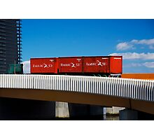 Red Containers on a Yellow Bridge Photographic Print