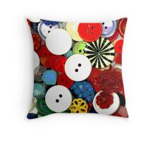 Colorful Button Background Throw Pillow