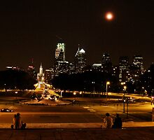 Full Moon Over Philadelphia by Bridges