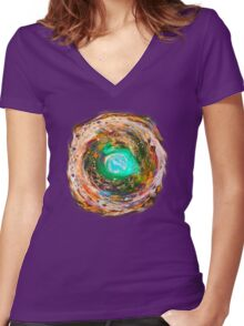 Cool Cosmic Lava Women's Fitted V-Neck T-Shirt