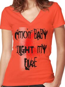 Cmon baby light my fire Women's Fitted V-Neck T-Shirt