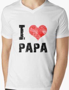 I Love Papa Mens V-Neck T-Shirt