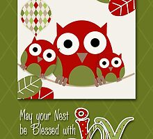 Trendy Owl Family Wishing Christmas Joy  by Doreen Erhardt