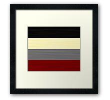 Brush Stroke Stripes: Black, Cream, Grey, and Red Framed Print