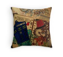 Doctor Who Travel Log  Throw Pillow