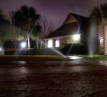 Sprinklers at Night by Matt Ferrell