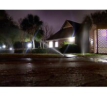 Sprinklers at Night Photographic Print