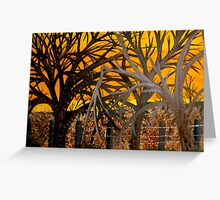 Silouettes on Amber Sunset (painting) Greeting Card