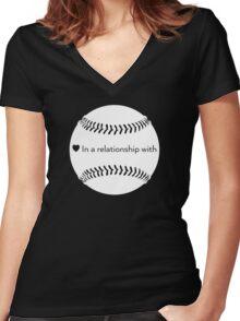 Relationship Status: Baseball (White) Women's Fitted V-Neck T-Shirt