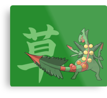 Sceptile With Grass Kanji Metal Print