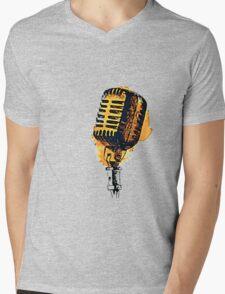 Retro Microphone Mens V-Neck T-Shirt
