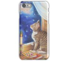 Christmas Art - Cat waiting for Santa iPhone Case/Skin