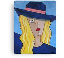 Blue Hat Lady Canvas Print