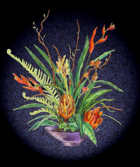 flowers in vase, drawing, watercolor, photoshop by Danielle J. Scott (Smith)