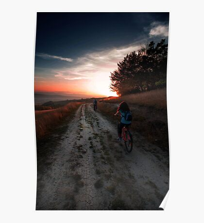 Cycling into the sunset Poster
