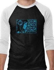 Headphone Girl Blue Men's Baseball ¾ T-Shirt