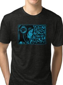 Headphone Girl Blue Tri-blend T-Shirt