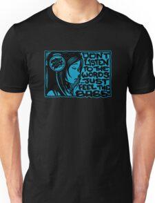 Headphone Girl Blue Unisex T-Shirt