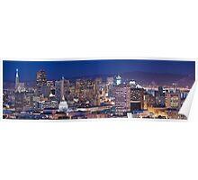 San Francisco skyline at night panorama Poster