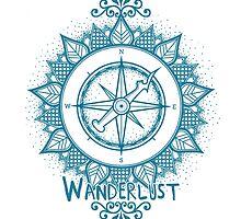 Wanderlust Compass Design - Blue by Mel Barrett