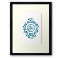 Wanderlust Compass Design - Blue Framed Print