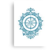Wanderlust Compass Design - Blue Canvas Print