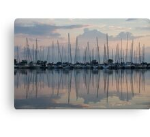 Pastel Sailboats Reflections at Dusk Canvas Print