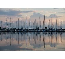 Pastel Sailboats Reflections at Dusk Photographic Print