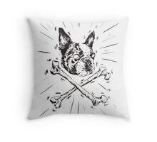 Pirate Boston Terrier Flag Throw Pillow