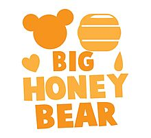 Big Honey bear with honey pot and bears face (good for a new daddy) Photographic Print
