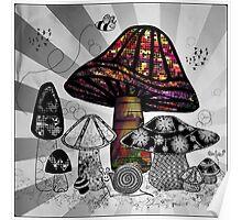 Technicolor Mushroom Rays  Poster