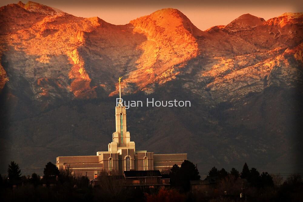 Mount Timpanogos Temple Fiery Sunset by Ryan Houston